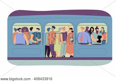 Commuting, Transport And Overpopulation Concept. Crowd Of Passengers Traveling By Subway Train, Stan