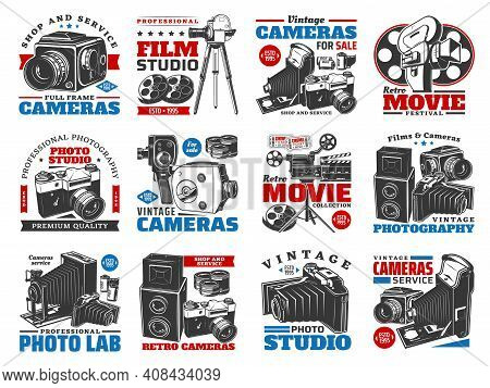 Vintage Cameras For Photo And Video Shooting. Vector Retro Cinema And Movie Studio Equipment For Sal