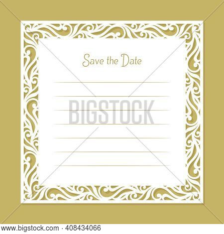 Card With A Carved Openwork Edge. Border With An Ornament Of Curls, Leaves. White Blank For Wedding