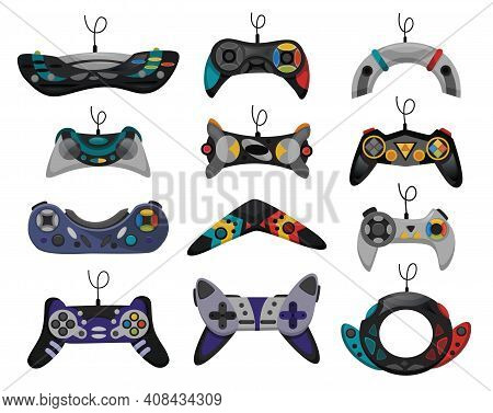Joystick. Cartoon Video Game Console. Gamepad Vector Icon Set. Game-play Console Isolated On White B
