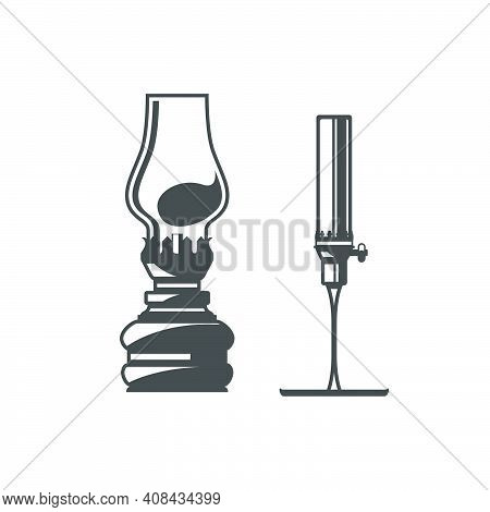 Old Metal Oil Lamps With Glass Bulbs, Vintage Home Kerosene Lanterns, Vector