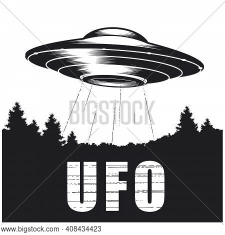 Ufo Over Forest, Alien Space Ship With Ray Of Light, Extraterrestrial Flying Saucer, Ufo Disk, Vecto