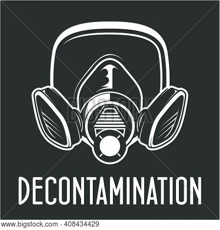 Protective Gas Mask Of Disinfectant Worker, Face Respirator, Disinfecting Breather Poster, Covid Pos