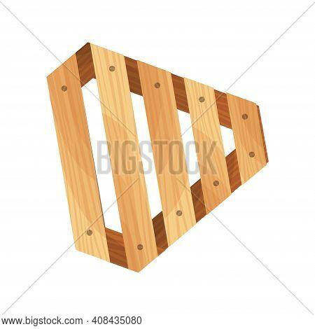 Wooden Pallet. Platform For Freight Transportation. Cargo Logistics And Distribution. Cartoon Wood P