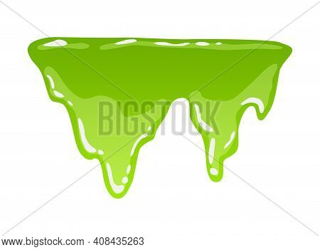 Green Slime. Goo Blob Splashes, Toxic Dripping Mucus. Slimy Splodge And Drops, Liquid Borders. Carto
