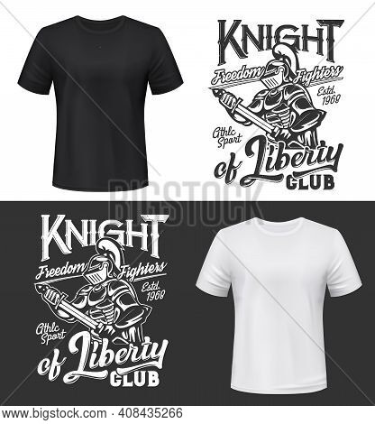 Tshirt Print With Knight Put Sword In Sheath, Vector Mockup Medieval Warrior Mascot In Helmet, Cape