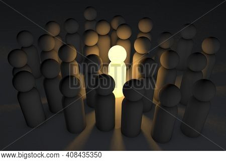 A Unique Leader In A Crowd Of Followers, A Unique Idea. Leader Of Opinions. 3d Render.