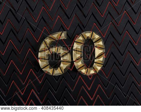 Number Sixty (number 60) Made From Gold Bars On Dark Background With Cuts And Glow Of Red Neon Lines