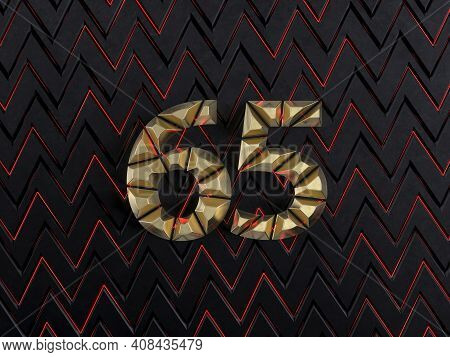Number Sixty-five (number 65) Made From Gold Bars On Dark Background With Cuts And Glow Of Red Neon