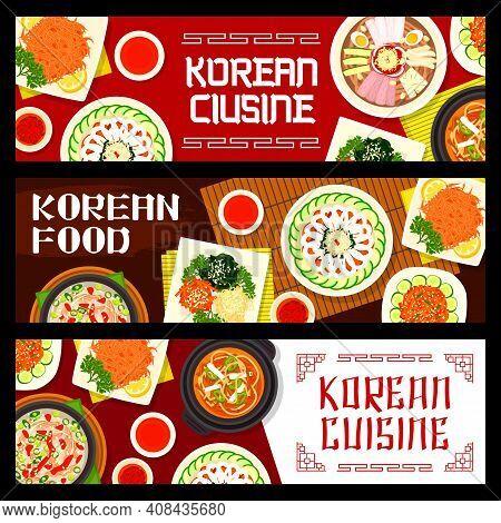 Korean Food Vector Pyonguang Cold Noodles, Kimchi Pork Soup, Soy And Dipping Sauce And Bean Jelly Sa