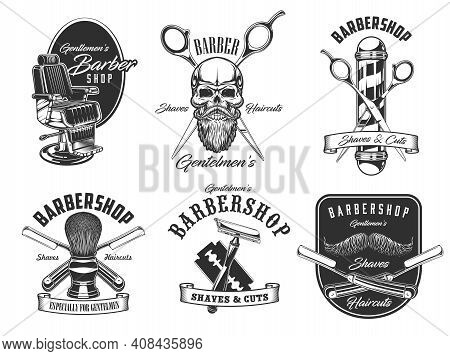 Barbershop, Shaves And Haircut Salon Icons. Vector Barbershop Pole, Hipster Skull With Beard And Mus