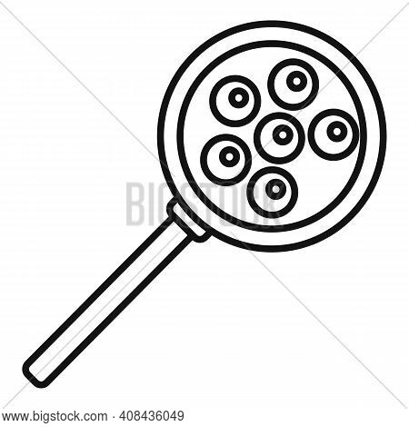 Caviar Magnifier Icon. Outline Caviar Magnifier Vector Icon For Web Design Isolated On White Backgro