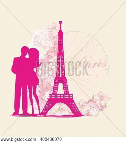 Romantic Couple In Paris Abstract Card , Vector Illustration