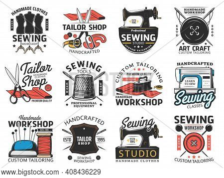Tailor Shop, Sewing Studio And Workshop Retro Icons. Custom Tailoring Workshop, Sewing Classes And E