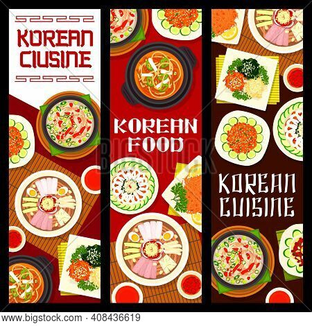 Korean Cuisine Vector Fish And Beef Khe, Pyonguang Cold Noodles And Kimchi Pork Soup. Bean Jelly Sal