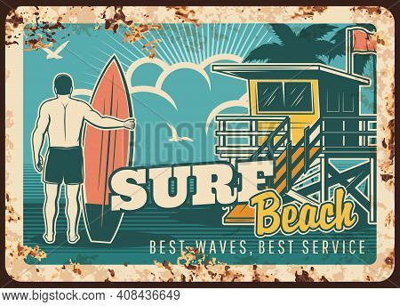 Surfing Metal Plate Rusty, Surfer With Surfboard On Beach With Ocean Waves, Vector Vintage Retro Pos