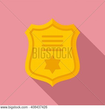 Prosecutor Gold Emblem Icon. Flat Illustration Of Prosecutor Gold Emblem Vector Icon For Web Design