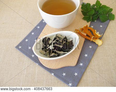 Black Tea From Fermented Blackberries Leaves And Dried Orange Peel
