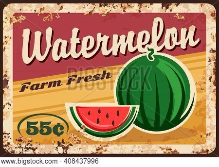 Watermelon Metal Plate Rusty, Farm Fruits Price Vector Retro Poster. Organic Natural Agriculture Foo