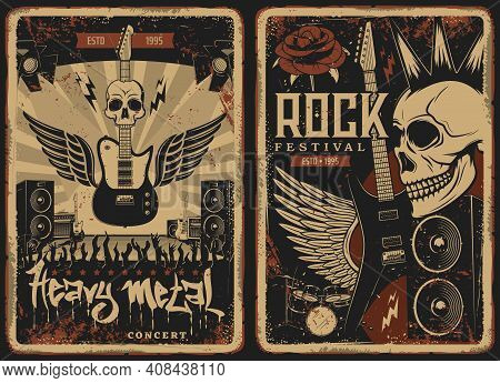 Hard Rock Concert Retro Posters With Vector Skull And Electric Guitar. Punk Band Music Festival Show