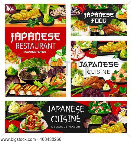 Japanese Cuisine Menu Food And Restaurant Dishes, Japan Traditional Meals, Vector. Japanese Udon Noo