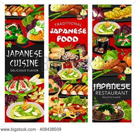 Japanese Cuisine Food Menu, Japan Dishes Meals, Asian Restaurant Vector Banners. Japanese Gourmet Cu