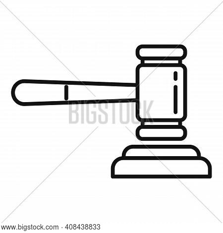 Judge Gavel Icon. Outline Judge Gavel Vector Icon For Web Design Isolated On White Background