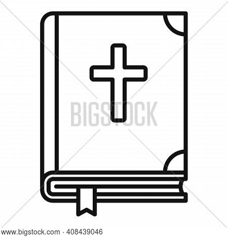 Holy Bible Icon. Outline Holy Bible Vector Icon For Web Design Isolated On White Background