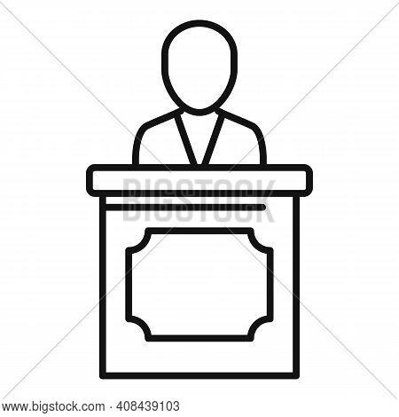 Prosecutor Tribune Icon. Outline Prosecutor Tribune Vector Icon For Web Design Isolated On White Bac