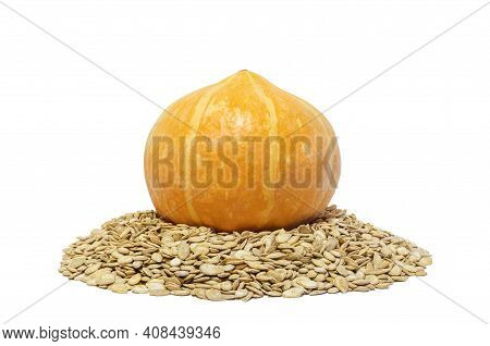 Orange Pumpkin And Its Seeds On An Isolated White Background. Healthy Vegetable Vegetarian Food.