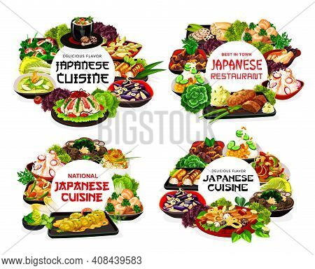 Japanese Cuisine Menu, Food Dishes And Japan Meals, Vector Traditional Asian Restaurant. Japanese Cu