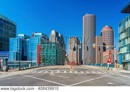 Boston Cityscape Under Blue Sky, Massachusetts, Usa Downtown Skyline, Architecture And Building With