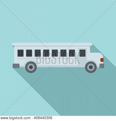 Prison Bus Icon. Flat Illustration Of Prison Bus Vector Icon For Web Design