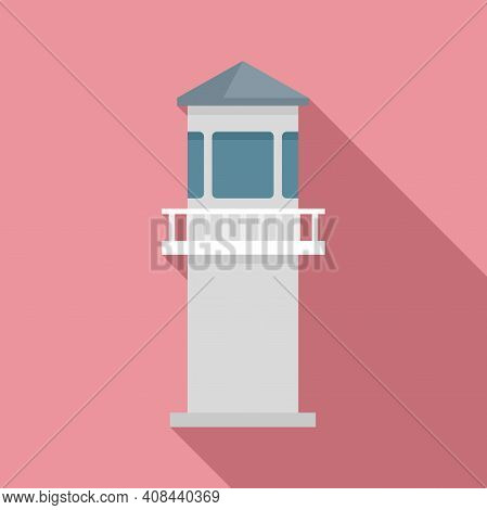 Prison Guard Tower Icon. Flat Illustration Of Prison Guard Tower Vector Icon For Web Design