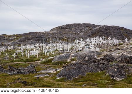 Ilulissat, Greenland - July 11, 2018: The Local Cemetery With White Wooden Crosses