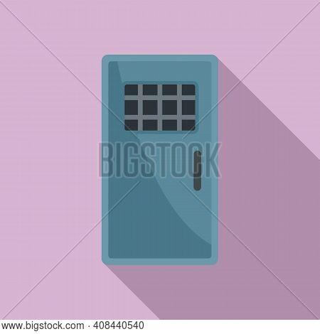 Prison Metal Door Icon. Flat Illustration Of Prison Metal Door Vector Icon For Web Design