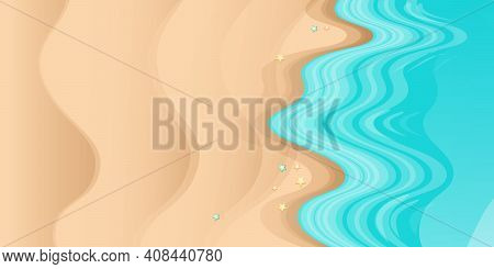 Top View Summer Beach Background With Golden Sand And Turquoise Ocean Waves. Vector Summer Beach Par