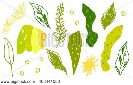 Green Abstract Leaves And Doodle Texture Elements. Cute Pretty Botany Set For Spring Summer Trendy F