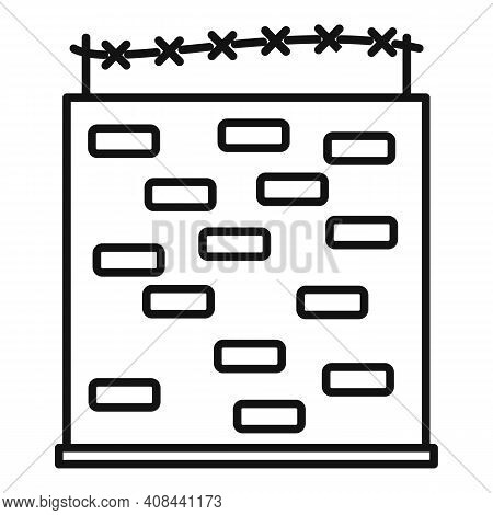 Prison Building Wall Icon. Outline Prison Building Wall Vector Icon For Web Design Isolated On White