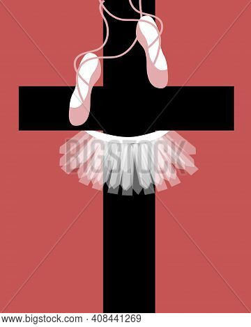 Illustration Of A Ballerina Clothing Hanging On A Cross For The Idea Of Innocence Being Sacrificed