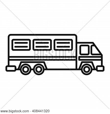 Prison Truck Icon. Outline Prison Truck Vector Icon For Web Design Isolated On White Background