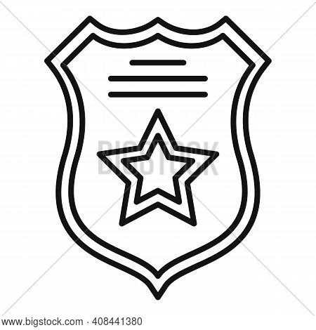 Prison Guard Shield Icon. Outline Prison Guard Shield Vector Icon For Web Design Isolated On White B