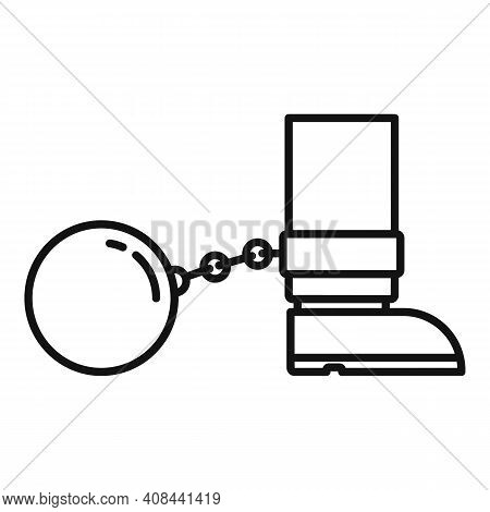 Prison Metal Ball Icon. Outline Prison Metal Ball Vector Icon For Web Design Isolated On White Backg