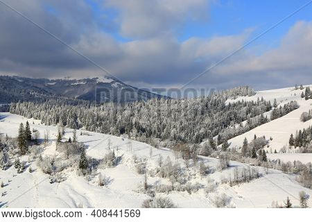 winter landscape in Carpathian mountains, take it in Ukraine