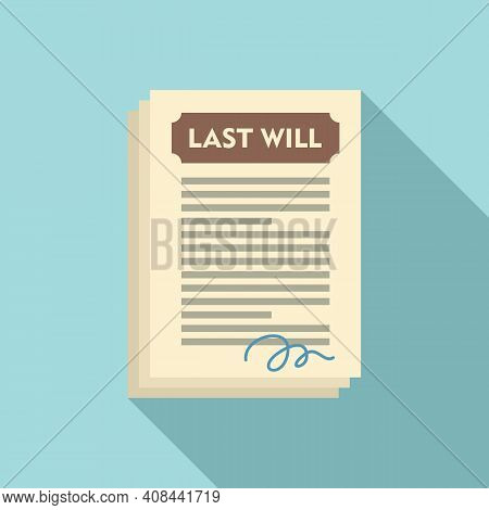 Notary Last Will Icon. Flat Illustration Of Notary Last Will Vector Icon For Web Design