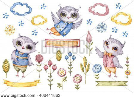 Cute Vector Watercolor Owls Boy And Floral Elements Isolated On White Background, Childish Style Set