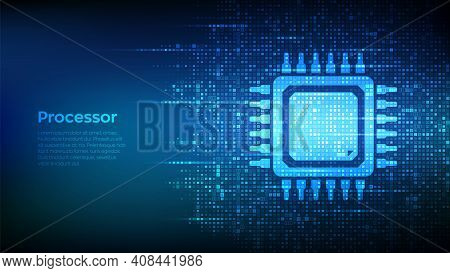 Processor. Cpu Microprocessor Or Chip Icon Made With Binary Code. Computer Chip. Ai Chipset. Digital