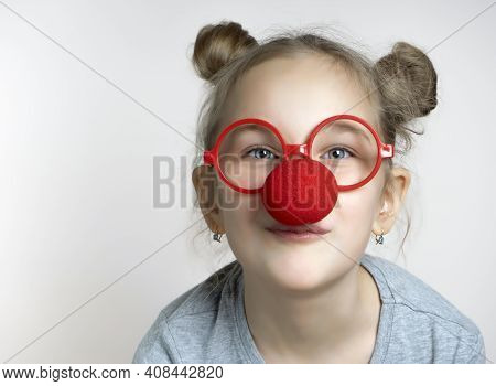 Happy Smiling Little Girl Studio Headshot Portrait Isolated On Grey Background. Cute Caucasian Femal