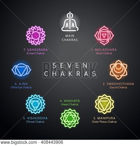 Set Of Seven Chakras Symbols Glowing Neon Icons Suitable For Web, Infographics And Apps. Muladhara,