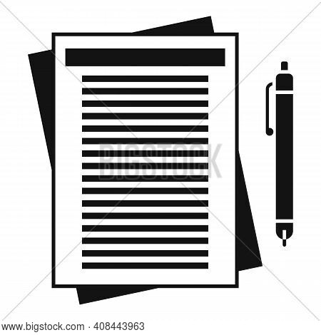 Notary Paper Pen Icon. Simple Illustration Of Notary Paper Pen Vector Icon For Web Design Isolated O